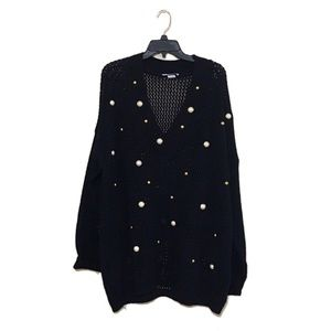 Vintage embellished oversized open knit sweater